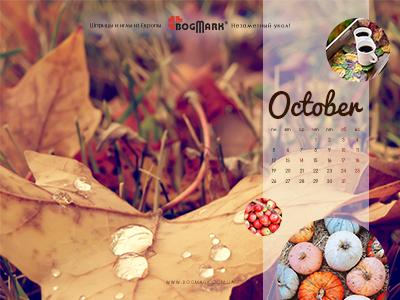 Скачать красивые обои для рабочего стола, картинка-календарь на 2016 год . Обои для рабочего стола: календарь на Октябрь 2015
