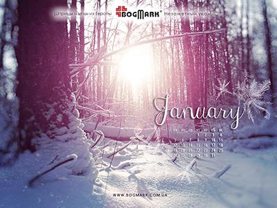 Скачать красивые обои для рабочего стола, картинка-календарь на 2016 год. Обои для рабочего стола: календарь на Январь 2015