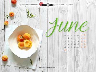 Скачать красивые обои для рабочего стола, картинка-календарь на 2016 год. Обои для рабочего стола: календарь на Июнь 2015